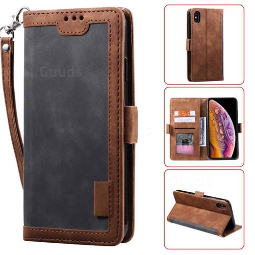 Luxury Retro Stitching Leather Wallet Phone Case for iPhone XS Max (6.5 inch) - Gray