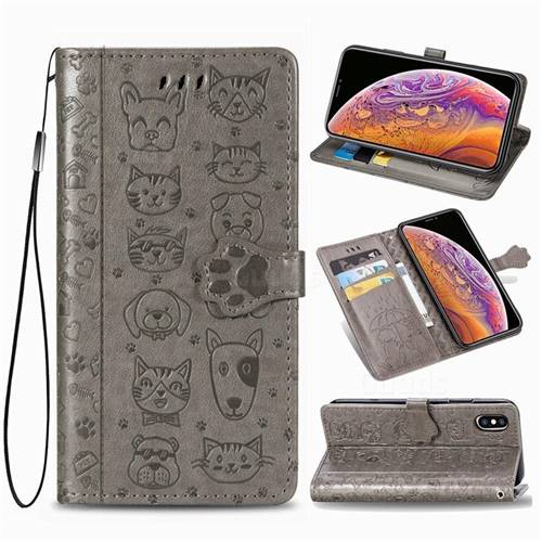 Embossing Dog Paw Kitten and Puppy Leather Wallet Case for iPhone XS Max (6.5 inch) - Gray