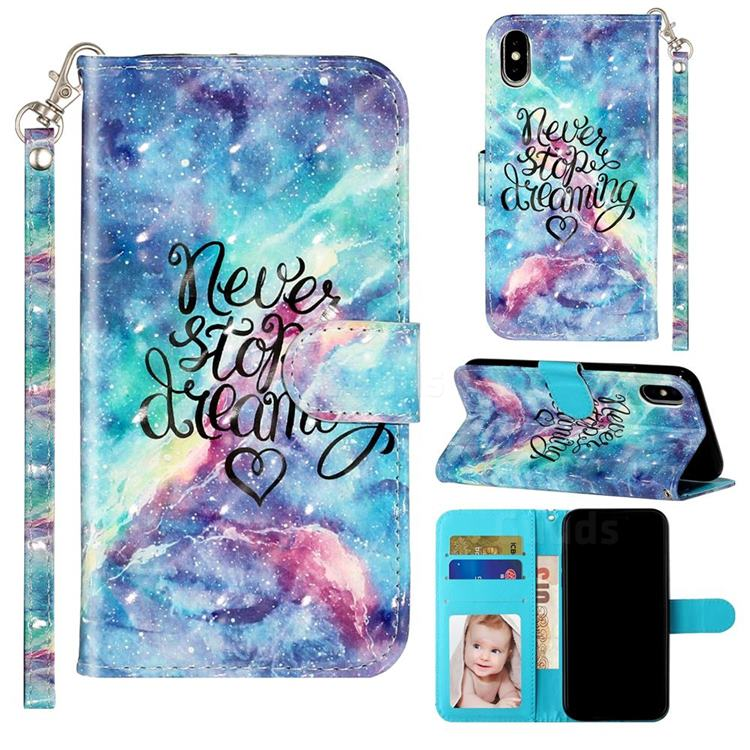 Blue Starry Sky 3D Leather Phone Holster Wallet Case for iPhone XS Max (6.5 inch)