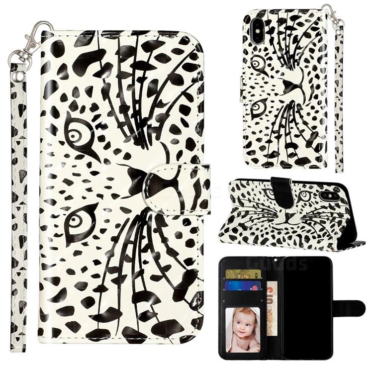 Leopard Panther 3D Leather Phone Holster Wallet Case for iPhone XS Max (6.5 inch)