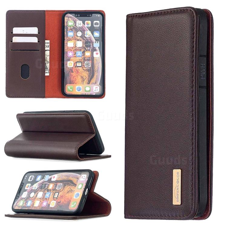 Binfen Color BF06 Luxury Classic Genuine Leather Detachable Magnet Holster Cover for iPhone XS Max (6.5 inch) - Dark Brown