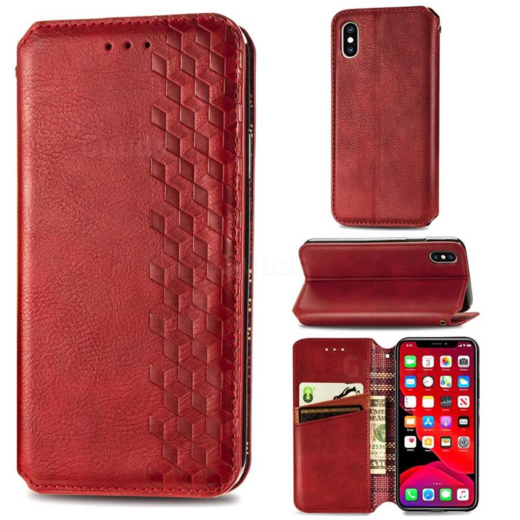 Ultra Slim Fashion Business Card Magnetic Automatic Suction Leather Flip Cover for iPhone XS Max (6.5 inch) - Red