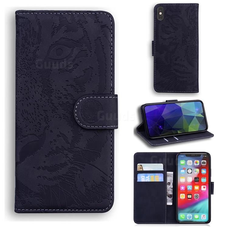 Intricate Embossing Tiger Face Leather Wallet Case for iPhone XS Max (6.5 inch) - Black