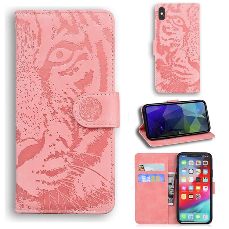 Intricate Embossing Tiger Face Leather Wallet Case for iPhone XS Max (6.5 inch) - Pink