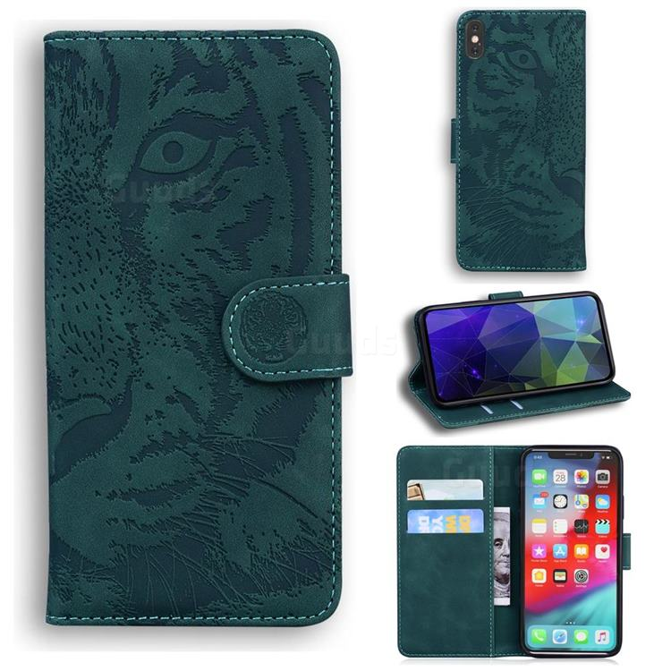 Intricate Embossing Tiger Face Leather Wallet Case for iPhone XS Max (6.5 inch) - Green