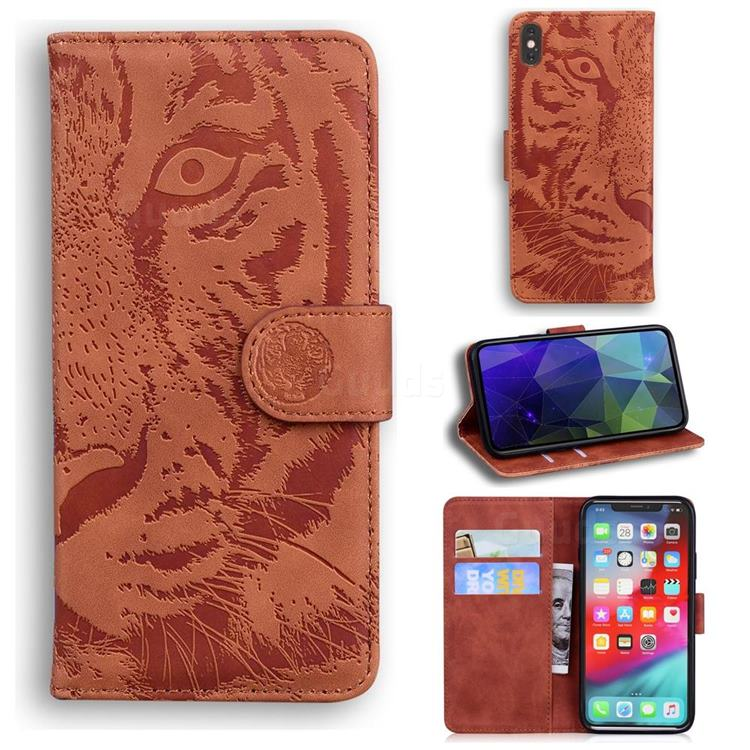 Intricate Embossing Tiger Face Leather Wallet Case for iPhone XS Max (6.5 inch) - Brown