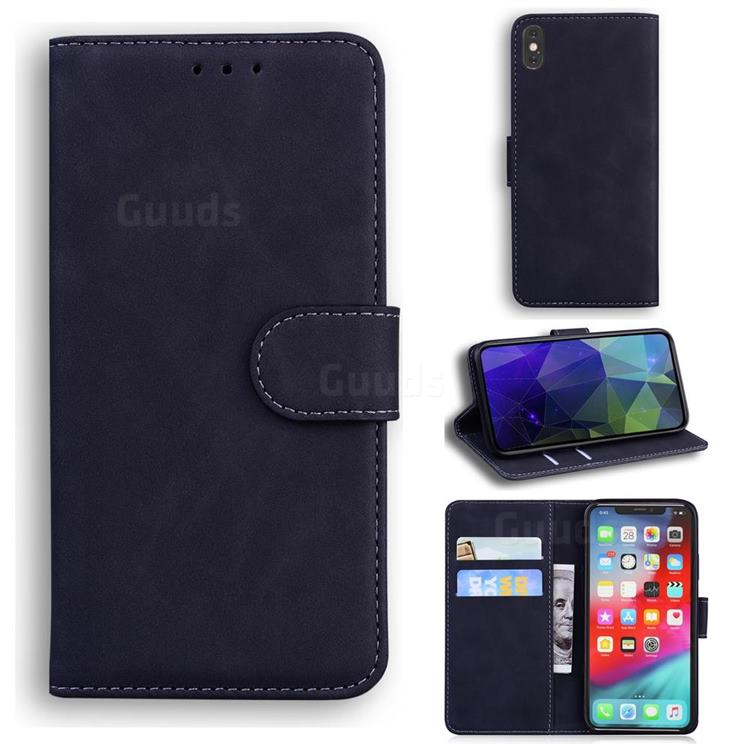 Retro Classic Skin Feel Leather Wallet Phone Case for iPhone XS Max (6.5 inch) - Black