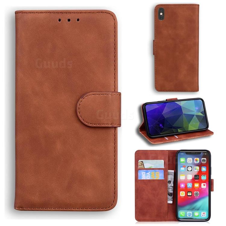 Retro Classic Skin Feel Leather Wallet Phone Case for iPhone XS Max (6.5 inch) - Brown