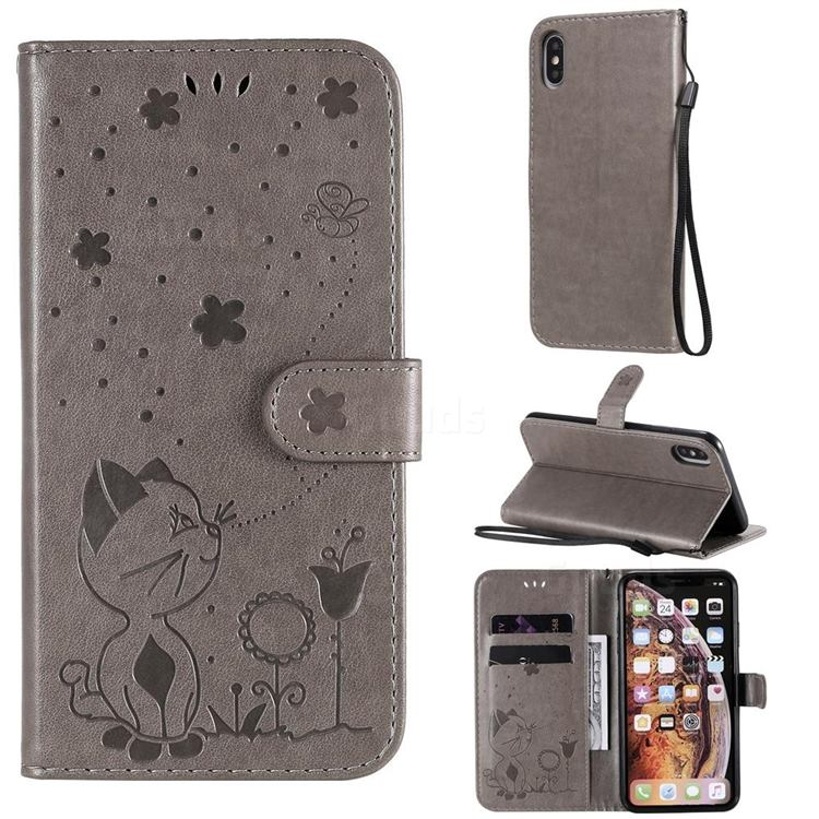 Embossing Bee and Cat Leather Wallet Case for iPhone XS Max (6.5 inch) - Gray