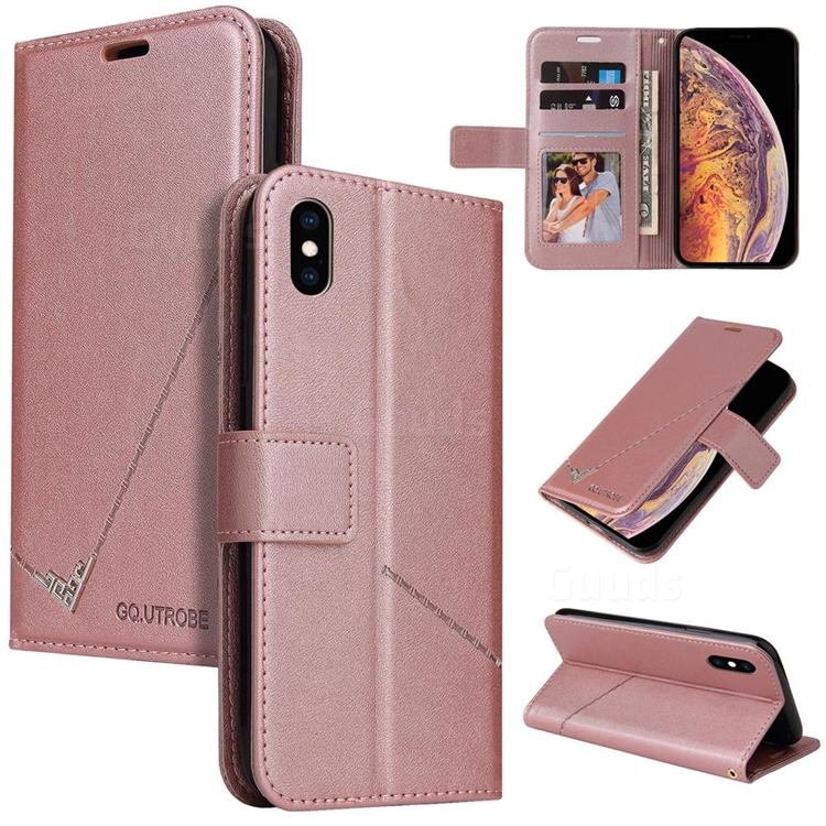 GQ.UTROBE Right Angle Silver Pendant Leather Wallet Phone Case for iPhone XS Max (6.5 inch) - Rose Gold