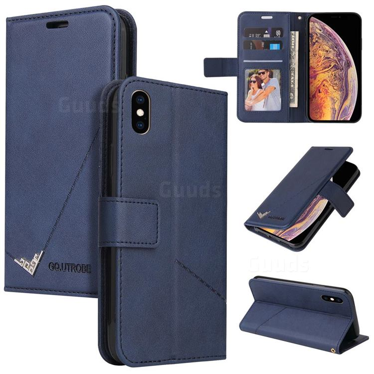 GQ.UTROBE Right Angle Silver Pendant Leather Wallet Phone Case for iPhone XS Max (6.5 inch) - Blue