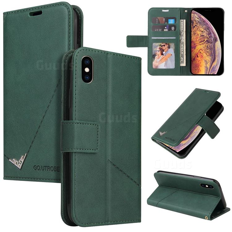 GQ.UTROBE Right Angle Silver Pendant Leather Wallet Phone Case for iPhone XS Max (6.5 inch) - Green
