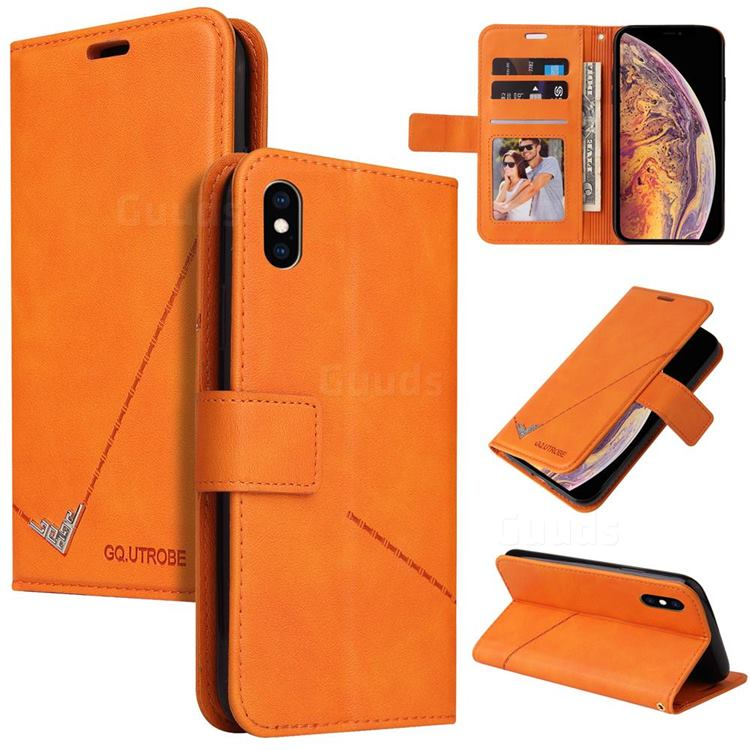 GQ.UTROBE Right Angle Silver Pendant Leather Wallet Phone Case for iPhone XS Max (6.5 inch) - Orange