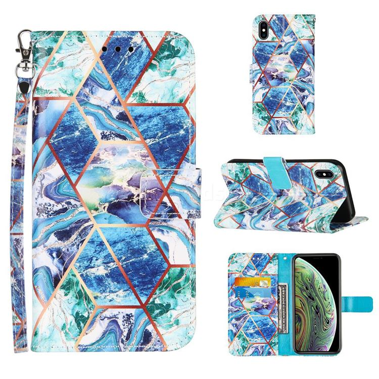 Green and Blue Stitching Color Marble Leather Wallet Case for iPhone XS Max (6.5 inch)