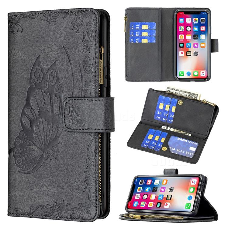 Binfen Color Imprint Vivid Butterfly Buckle Zipper Multi-function Leather Phone Wallet for iPhone XS Max (6.5 inch) - Black