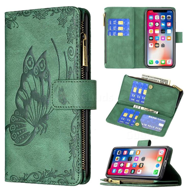 Binfen Color Imprint Vivid Butterfly Buckle Zipper Multi-function Leather Phone Wallet for iPhone XS Max (6.5 inch) - Green