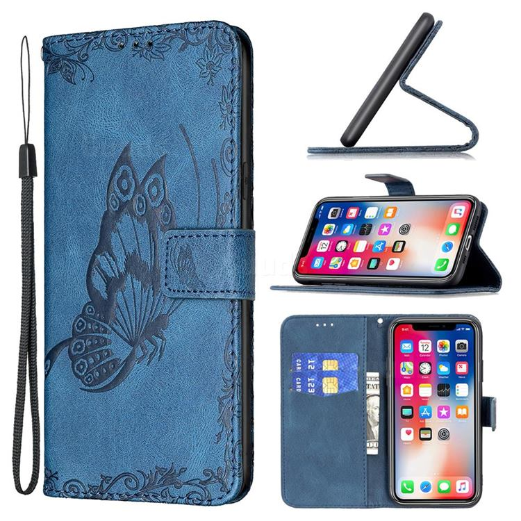 Binfen Color Imprint Vivid Butterfly Leather Wallet Case for iPhone XS Max (6.5 inch) - Blue