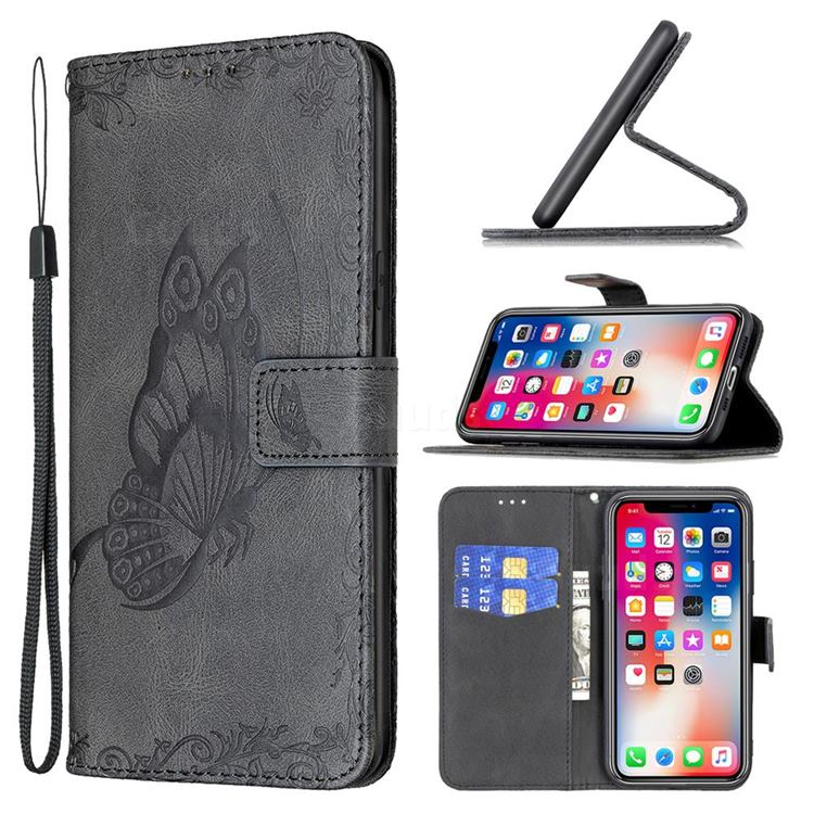 Binfen Color Imprint Vivid Butterfly Leather Wallet Case for iPhone XS Max (6.5 inch) - Black