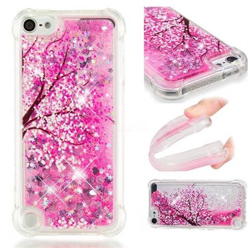 Pink Cherry Blossom Dynamic Liquid Glitter Sand Quicksand Star TPU Case for iPod Touch 5 6