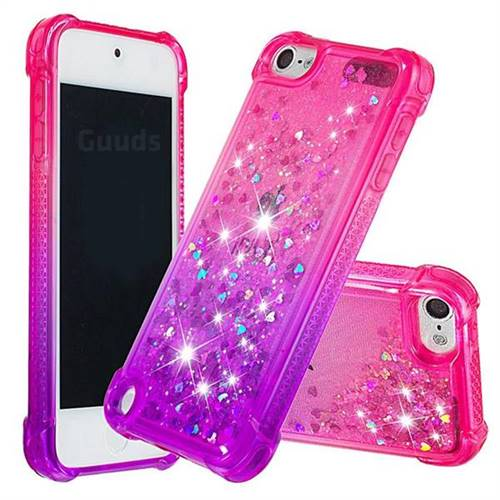 Rainbow Gradient Liquid Glitter Quicksand Sequins Phone Case for iPod Touch 5 6 - Pink Purple