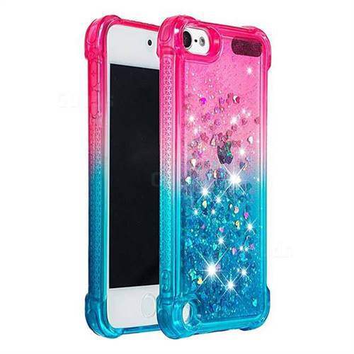 first rate aea05 3fbac Rainbow Gradient Liquid Glitter Quicksand Sequins Phone Case for iPod Touch  5 6 - Pink Blue