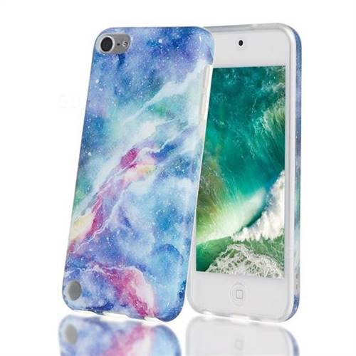 Blue Starry Sky Marble Clear Bumper Glossy Rubber Silicone Phone Case for iPod Touch 5 6