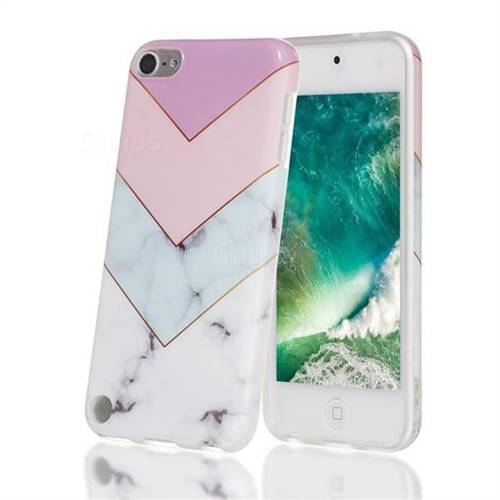 Stitching Pink Marble Clear Bumper Glossy Rubber Silicone Phone Case for iPod Touch 5 6