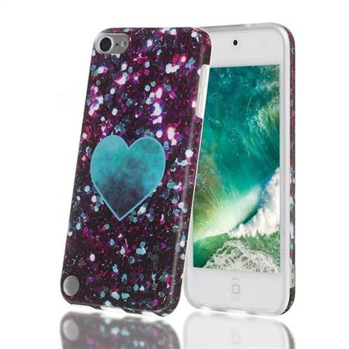 Glitter Green Heart Marble Clear Bumper Glossy Rubber Silicone Phone Case for iPod Touch 5 6