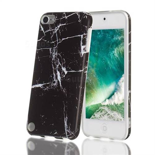 Black Stone Marble Clear Bumper Glossy Rubber Silicone Phone Case for iPod Touch 5 6