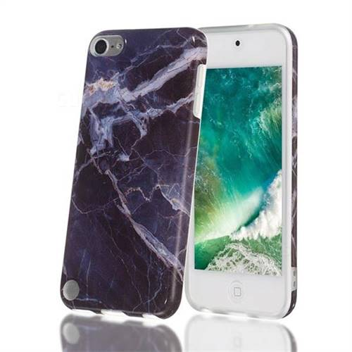 Gray Stone Marble Clear Bumper Glossy Rubber Silicone Phone Case for iPod Touch 5 6