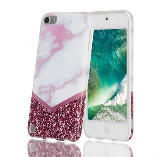 Stitching Rose Marble Clear Bumper Glossy Rubber Silicone Phone Case for iPod Touch 5 6