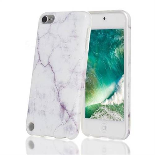 White Smooth Marble Clear Bumper Glossy Rubber Silicone Phone Case for iPod Touch 5 6