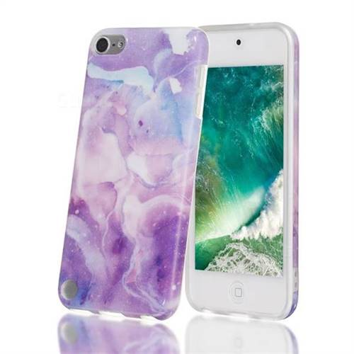 Dream Purple Marble Clear Bumper Glossy Rubber Silicone Phone Case for iPod Touch 5 6