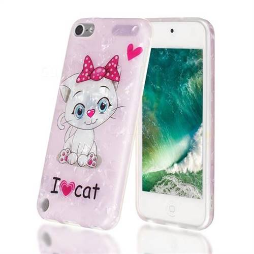 I Love Cat Shell Pattern Clear Bumper Glossy Rubber Silicone Phone Case for iPod Touch 5 6