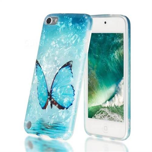 Sea Blue Butterfly Shell Pattern Clear Bumper Glossy Rubber Silicone Phone Case for iPod Touch 5 6