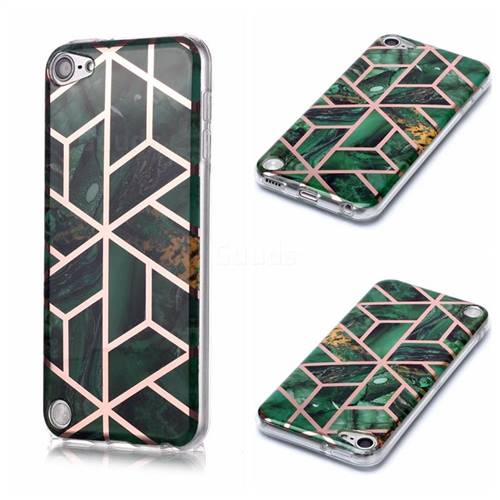 Green Rhombus Galvanized Rose Gold Marble Phone Back Cover for iPod Touch 5 6