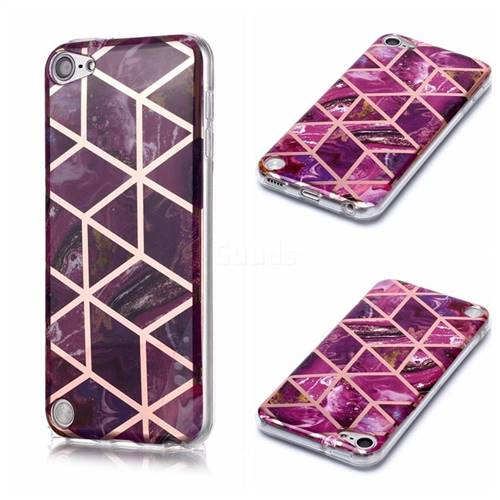 Purple Rhombus Galvanized Rose Gold Marble Phone Back Cover for iPod Touch 5 6