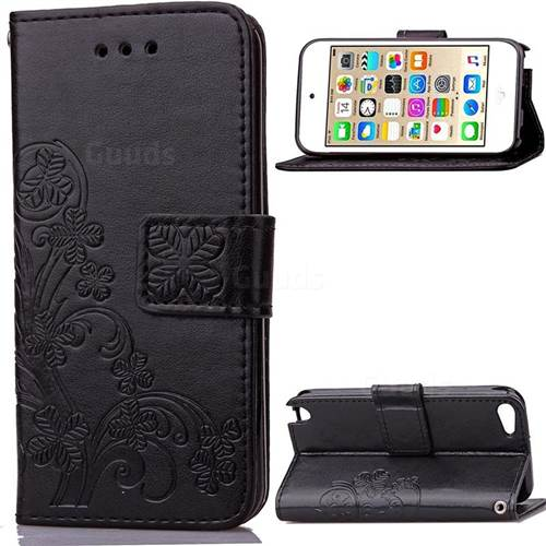 Embossing Imprint Four-Leaf Clover Leather Wallet Case for iPod touch iTouch 5 6 - Black