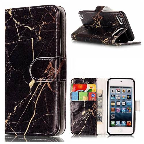 Black Gold Marble PU Leather Wallet Case for iPod Touch 5 6
