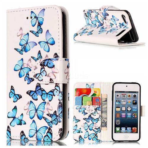 Blue Vivid Butterflies PU Leather Wallet Case for iPod Touch 5 6