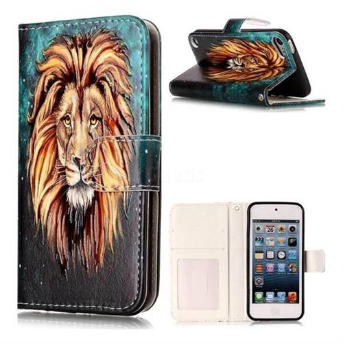 Ice Lion 3D Relief Oil PU Leather Wallet Case for iPod Touch 5 6