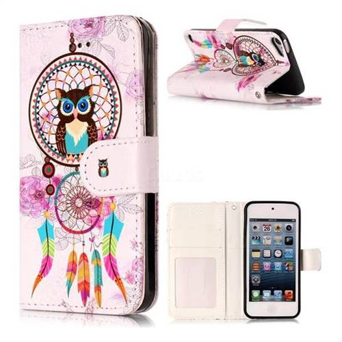 Wind Chimes Owl 3D Relief Oil PU Leather Wallet Case for iPod Touch 5 6