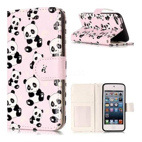 23fd9e0b378 Cute Panda 3D Relief Oil PU Leather Wallet Case for iPod Touch 5 6 ...