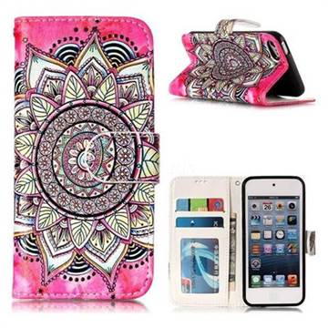 Rose Mandala 3D Relief Oil PU Leather Wallet Case for iPod Touch 5 6