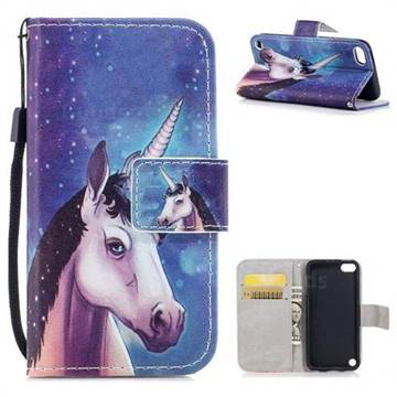 Blue Unicorn PU Leather Wallet Case for iPod Touch 5 6