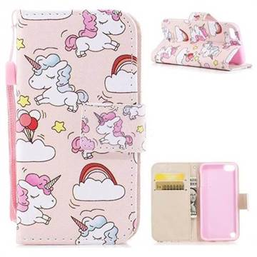 Rainbow Unicorn PU Leather Wallet Case for iPod Touch 5 6