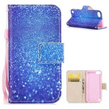 Blue Powder PU Leather Wallet Case for iPod Touch 5 6