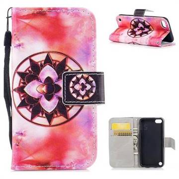 Red Mandala PU Leather Wallet Case for iPod Touch 5 6