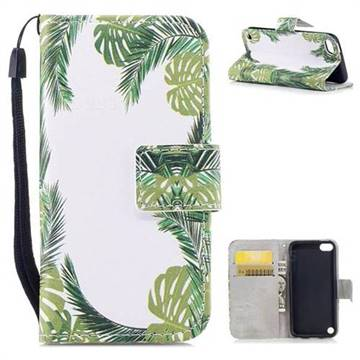 Green Leaves PU Leather Wallet Case for iPod Touch 5 6