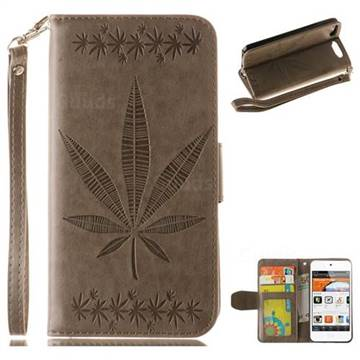 Intricate Embossing Maple Leather Wallet Case for iPod Touch 5 6 - Gray